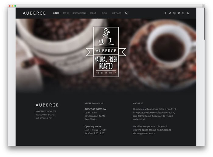 auberge free wordpress theme screenshot